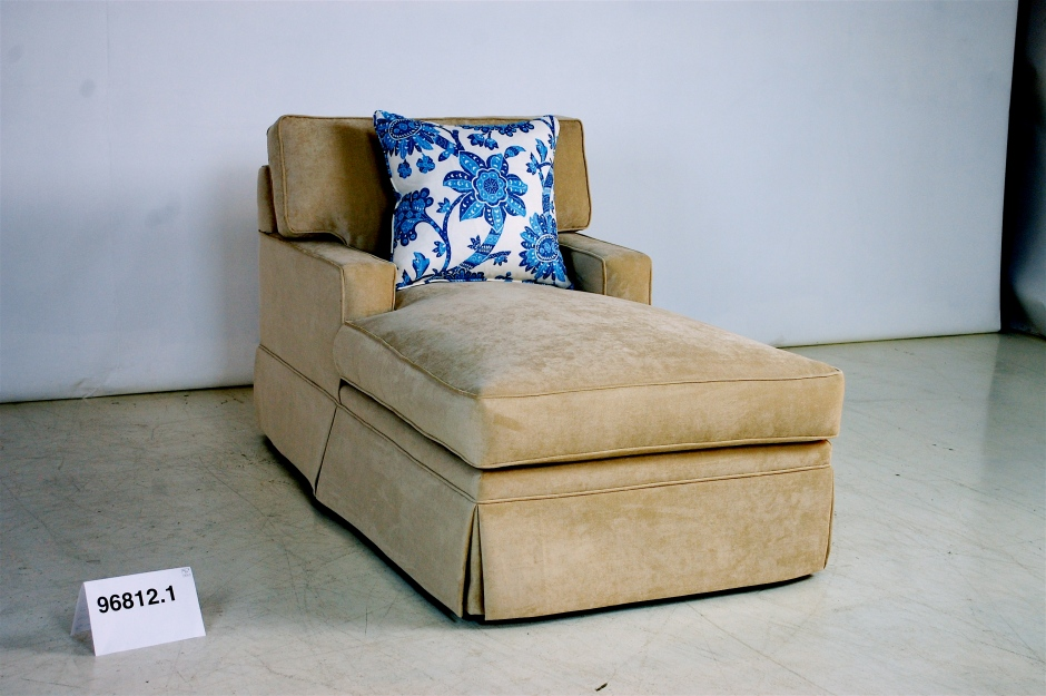 Gold Chaise with Kick Pleat Skirt